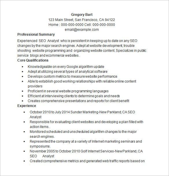 seo resume template 12 free sles exles format