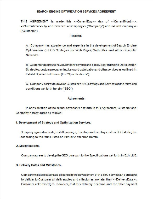 SEO Services Contract Template Free Microsoft Word