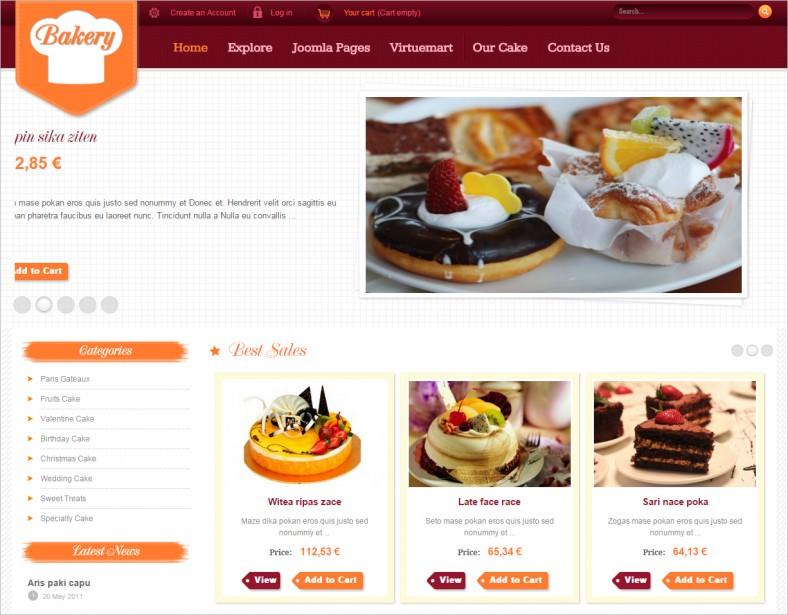 sj bakery responsive joomla template 788x615