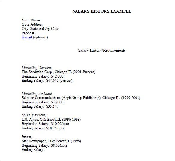 Salary-History-list-Example Salary History Format Resume on how put my, where do you put, where put desired, how write expected, history template, how attach expected, what type for, templates that include, hours included,