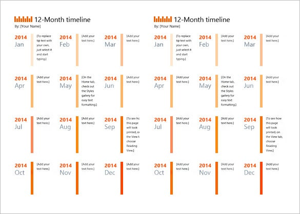 Sample 12 Months Timeline Template Download
