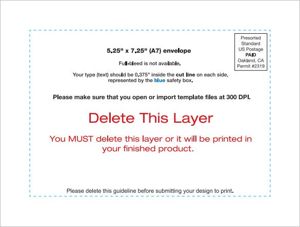 A7 Envelope Templates 11 Free Printable Word PSD PDF Format – Sample A7 Envelope Template