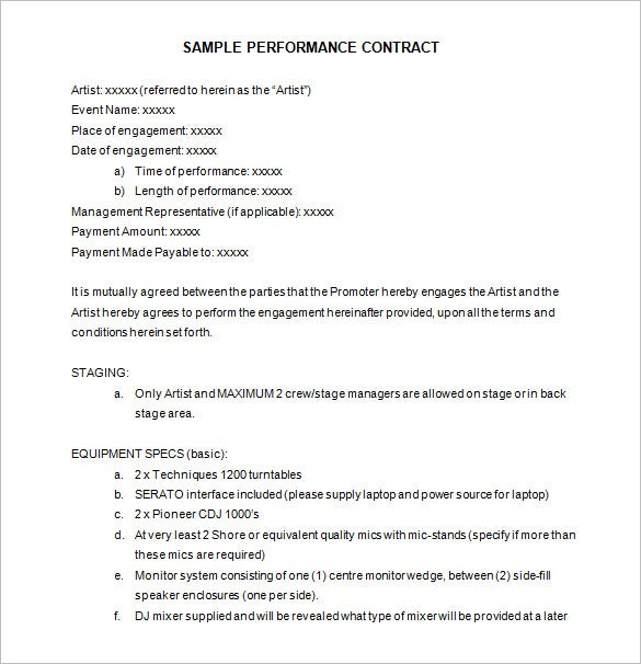 sample artist performance contract template free download