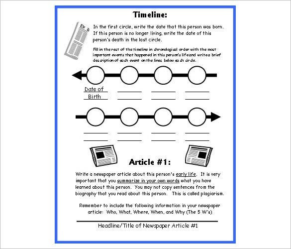 Biography Timeline Templates  Free Sample Example Format