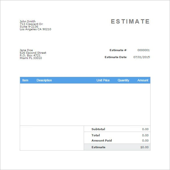 Estimate Invoice Printable Business Invoice Template In