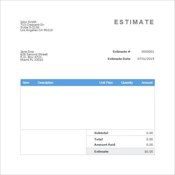 Blank Estimate Template – 15+ Free Word, PDF Format Download! | Free ...