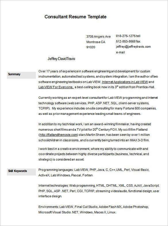 sample business consultant resume free download - Business Consultant Resume Sample