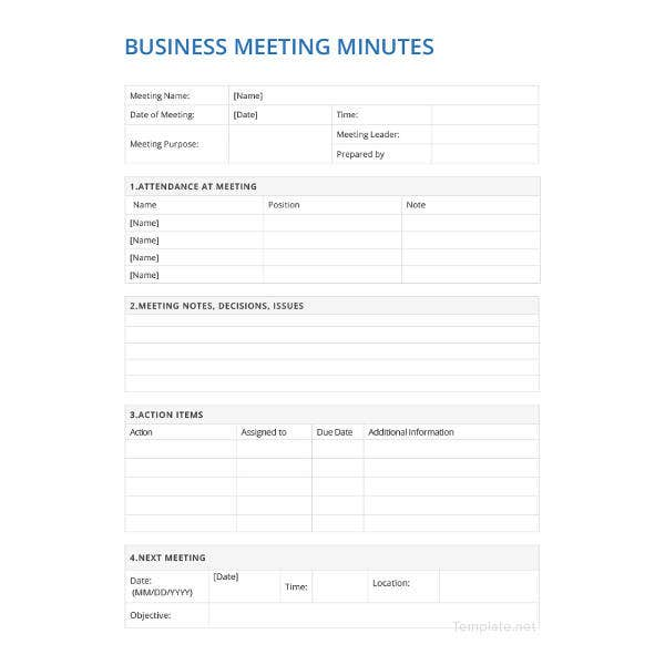 sample business meeting minutes template1