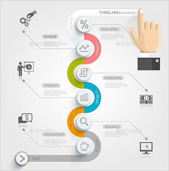 Amazing Sample Business Timeline Infographic Illustrator U2013 $4