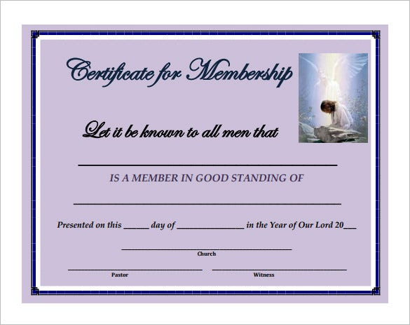Membership certificate template 23 free word pdf documents sample church membership certificate download yadclub Choice Image