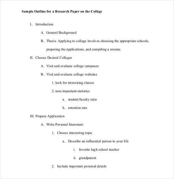 essay outline sample example format  sample college research paper outline
