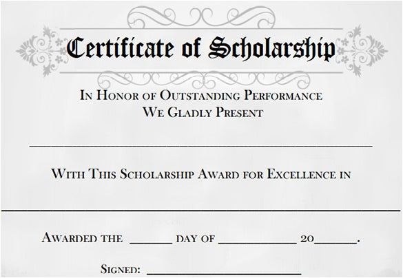 sample college scholarship award template certificate