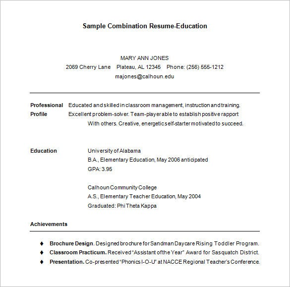 sample combination resume template free download
