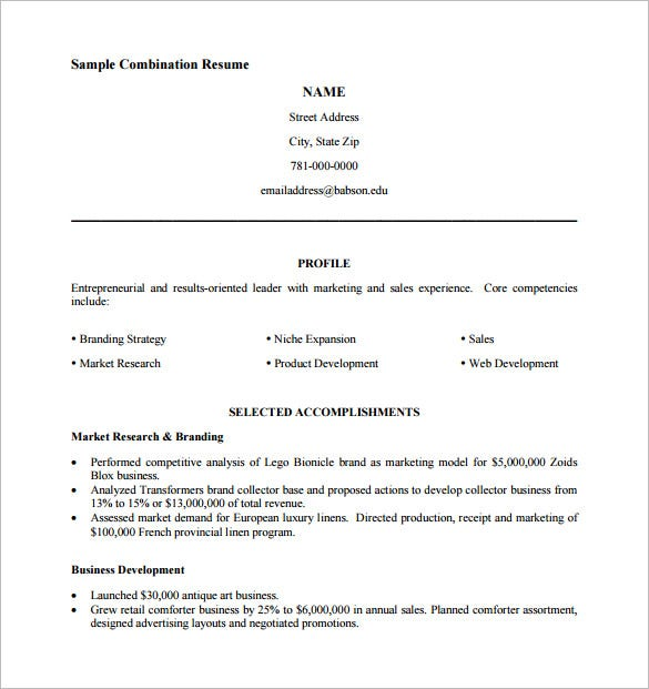 Sample Combination Resume Template PDF Format