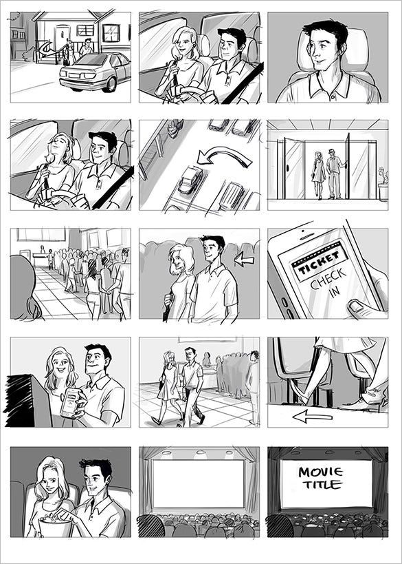 6 commercial storyboard templates doc pdf free for Interactive storyboard template