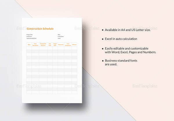 sample construction schedule template