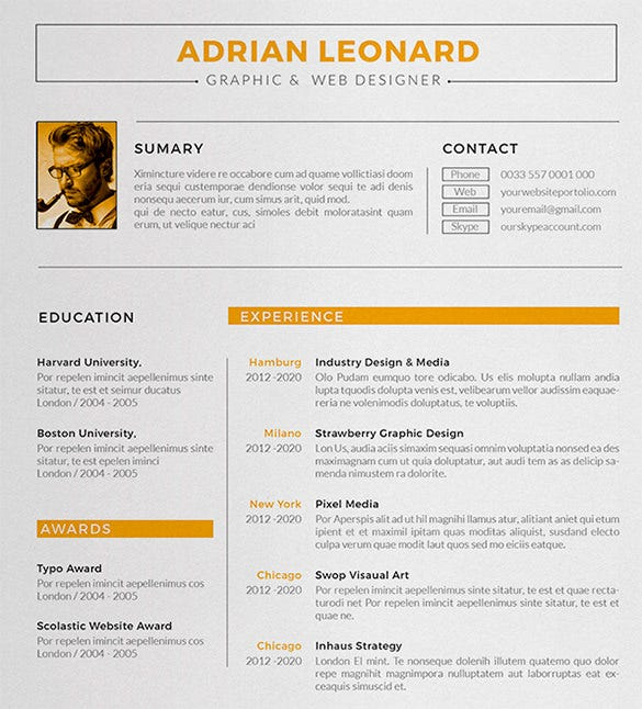 sample designer resume template - Free Unique Resume Templates