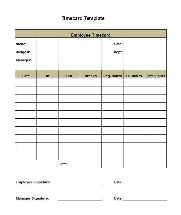 8+ Printable Time Card Templates – Free Word, Excel & Pdf Format