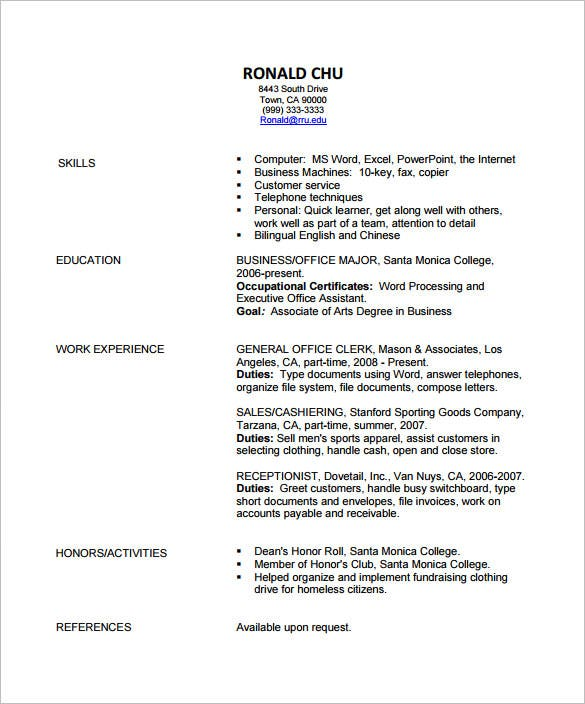 Sample Resume Format Pdf