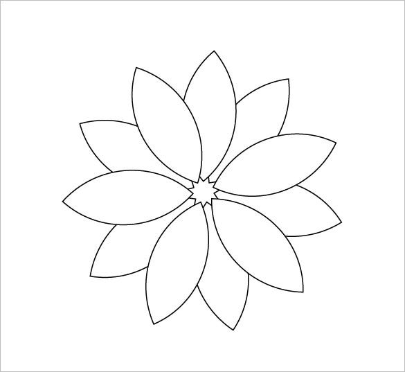 Flower Petals Line Drawing : Flower petal template free word pdf documents