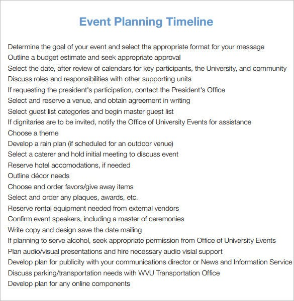 9 event timeline templates free sample example format download