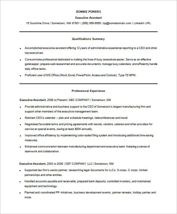 sample functional resume template free download