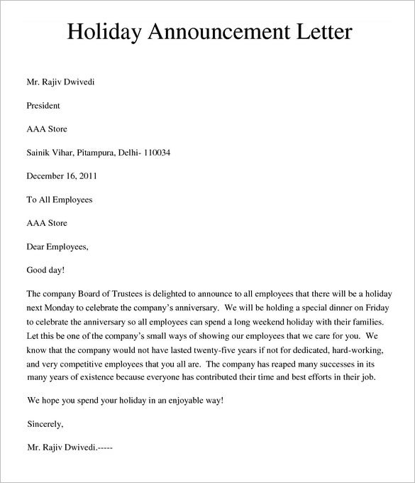 sample holiday memo template free download