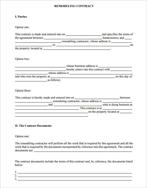 sample home improvement contract template