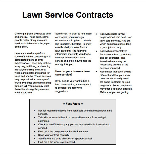 Sample Lawn Service Contract Template PDF Download