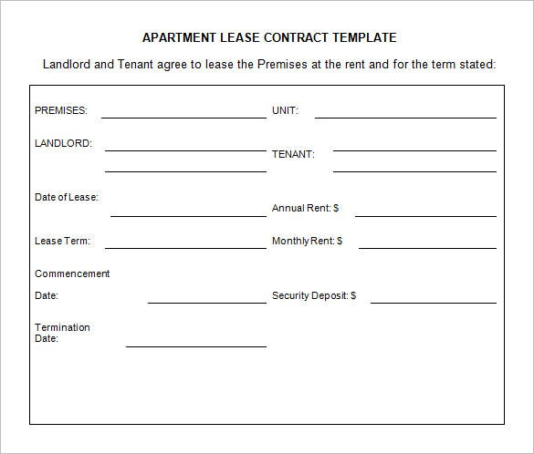 sample lease contract template for apartment free download