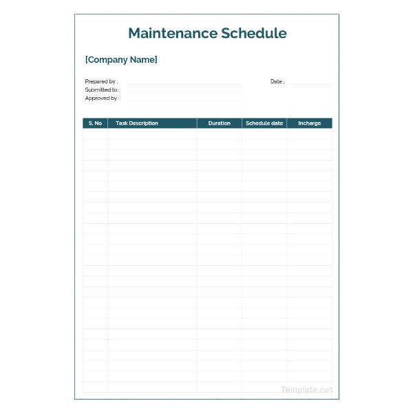 sample maintenance schedule template