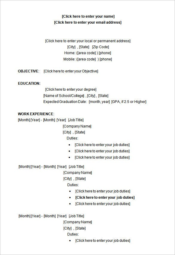 resume template word format free download sample in doc college student simple