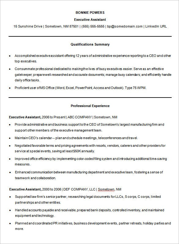 Sample Microsoft Word Executive Assistant Resume Template. Free Download