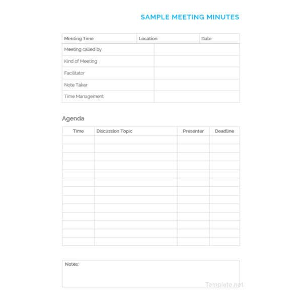 sample minutes of meeting template