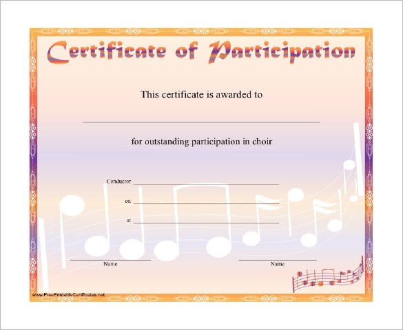 sample music participation certificate template download