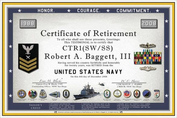 sample navy retirement certificate template