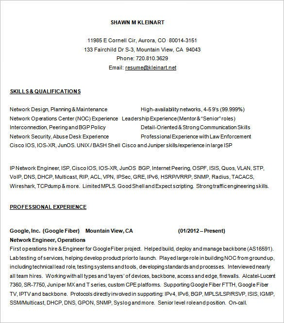 Sample Network Engineer Resume Free Download