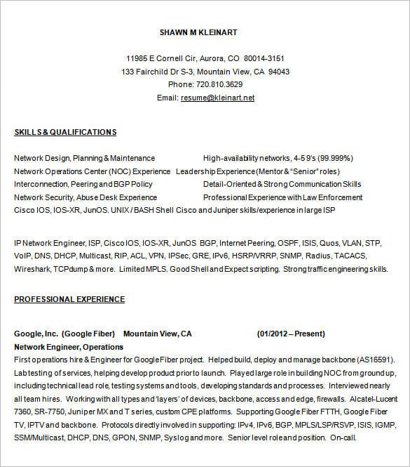 best resume format network engineer