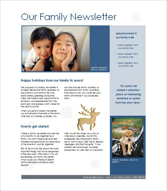 7 family newsletter templates free word documents for Newsletter layout templates free download