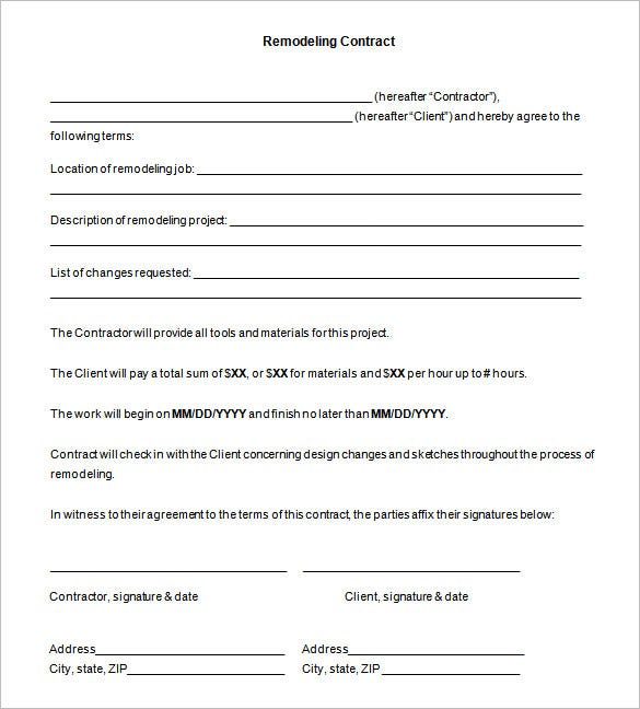 Remodeling Contract Templates Samples PDF DOC Free - Contracts and agreements templates