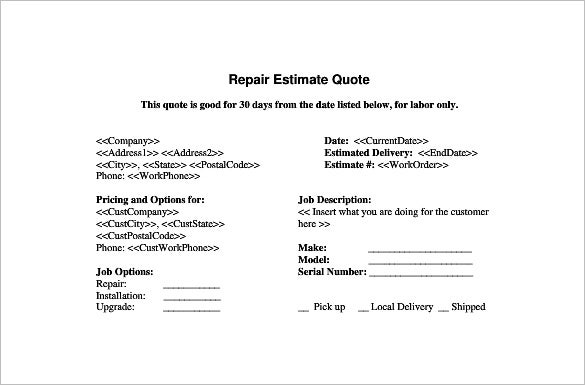 Repair Estimate Template   Free Word Excel Pdf Documents