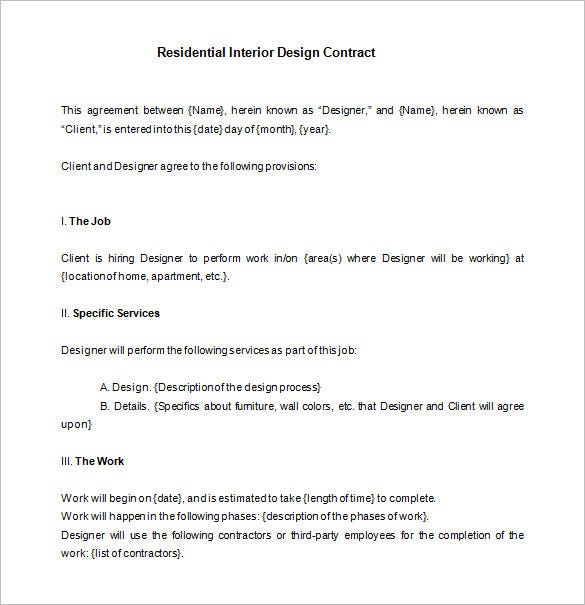 sample residential interior designer contract template