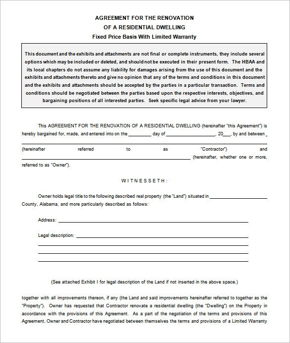 7 Remodeling Contract Templates Free Word PDF Format Download – Remodeling Contract Template Sample
