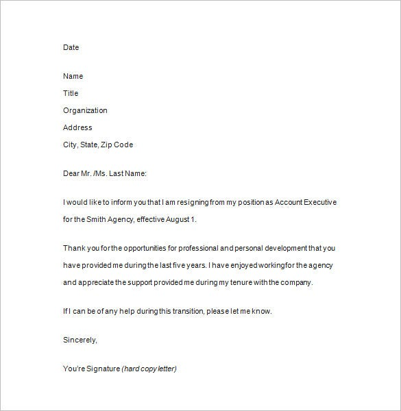 Notice Of Resignation -11+ Free Samples, Examples, Format Download