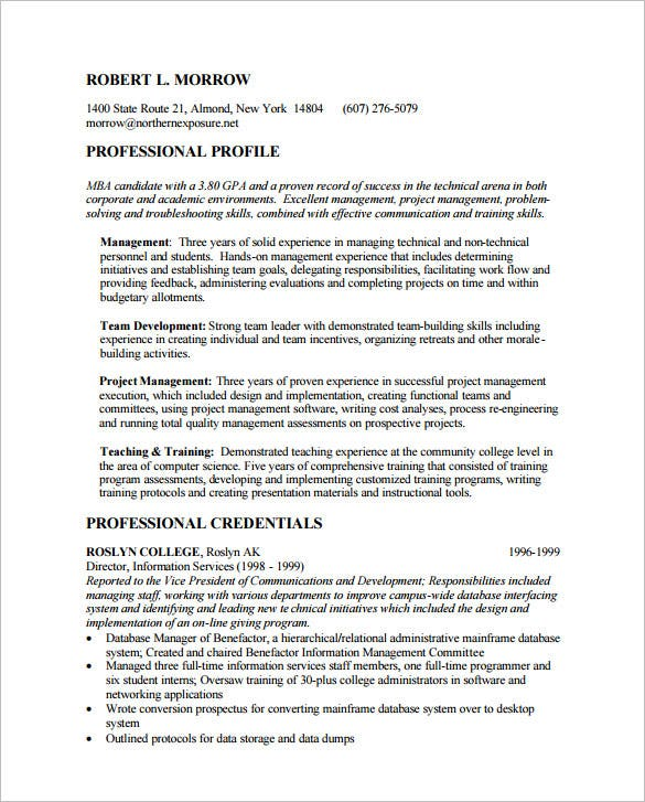 MBA Resume Template 11 Free Samples Examples Format Download – Sample Mba Resume
