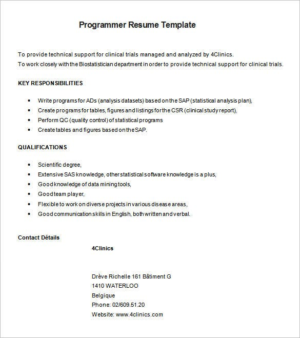 Great Sample SAS Programmer Resume Free Download  Entry Level Programmer Resume