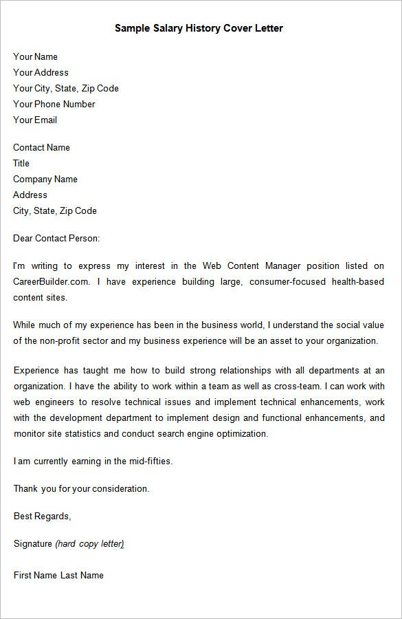 cover letter with salary history resume cover letter
