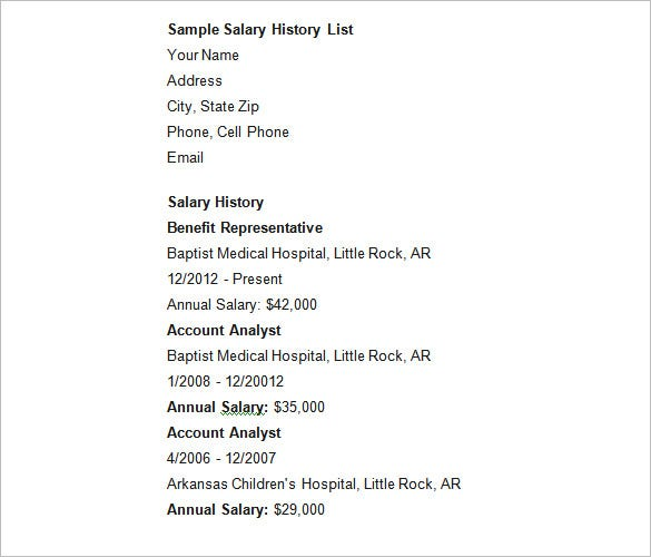 Sample-Salary-History-List Salary History Format Resume on how put my, where do you put, where put desired, how write expected, history template, how attach expected, what type for, templates that include, hours included,