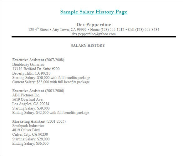 Printable Salary History Template Sample Templatepage