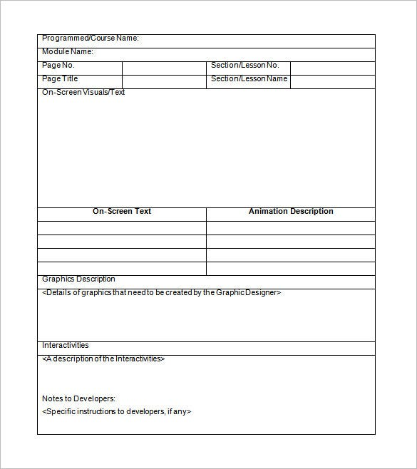 sample storybord template word format download